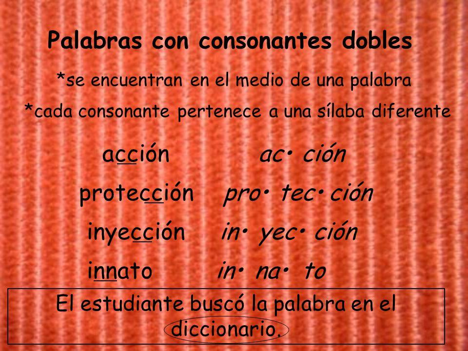 Palabras con consonantes dobles