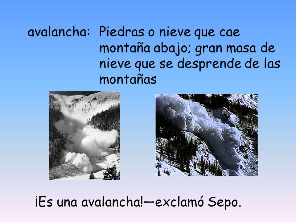 avalancha: Piedras o nieve que cae montaña abajo; gran masa de nieve que se desprende de las montañas.