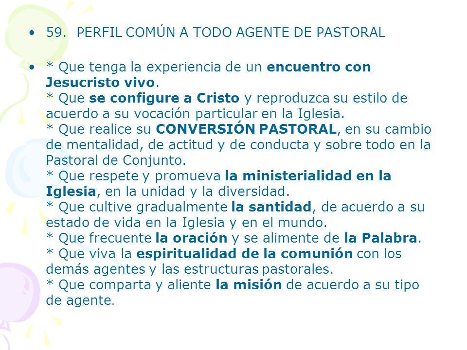59. PERFIL COMÚN A TODO AGENTE DE PASTORAL