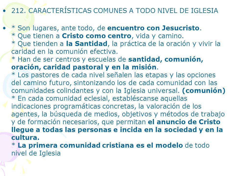 212. CARACTERÍSTICAS COMUNES A TODO NIVEL DE IGLESIA