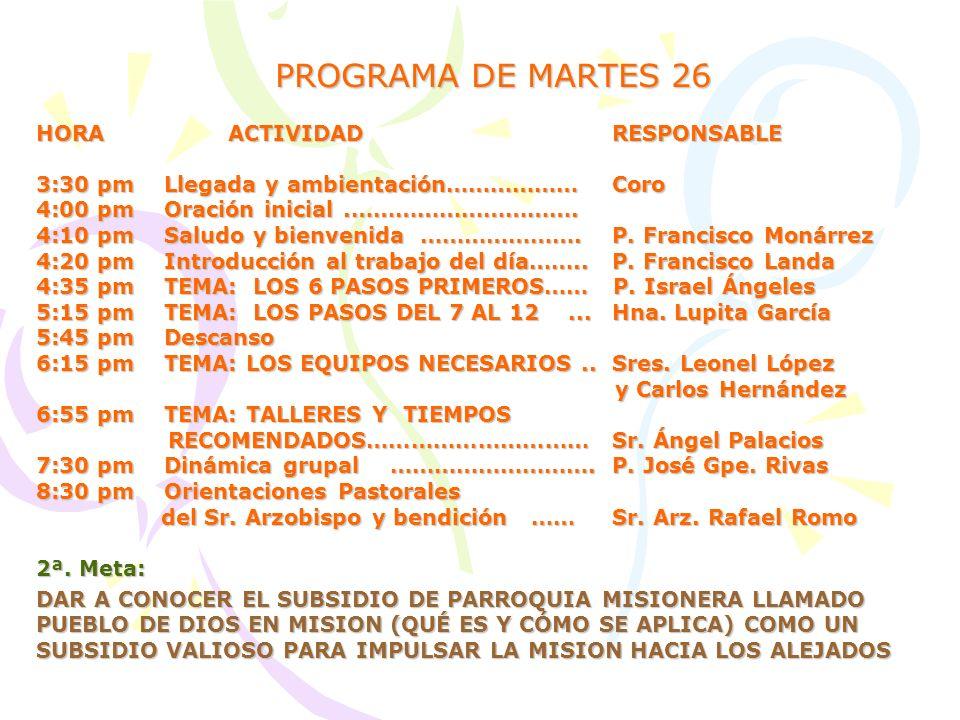 PROGRAMA DE MARTES 26 HORA ACTIVIDAD RESPONSABLE