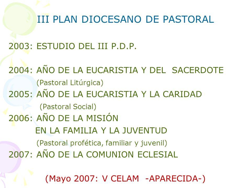 III PLAN DIOCESANO DE PASTORAL