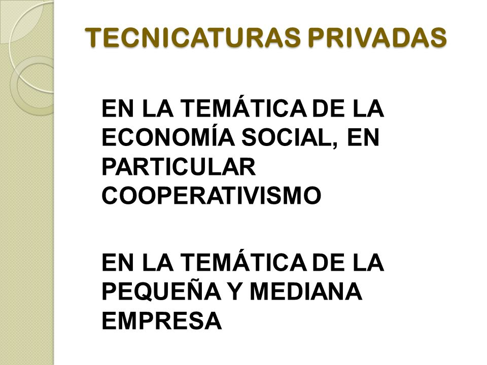 TECNICATURAS PRIVADAS