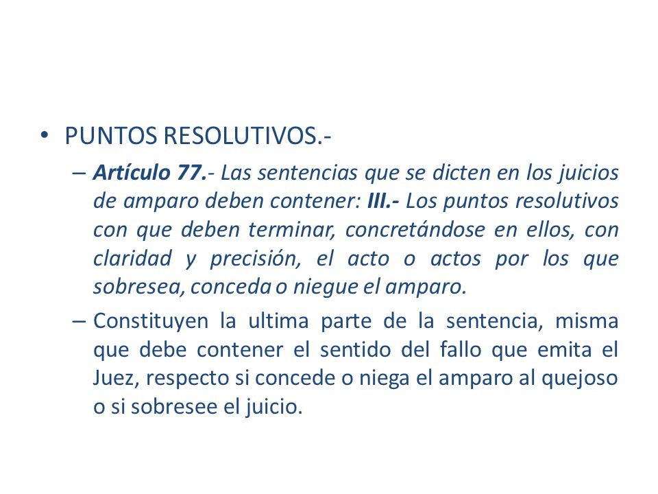 PUNTOS RESOLUTIVOS.-