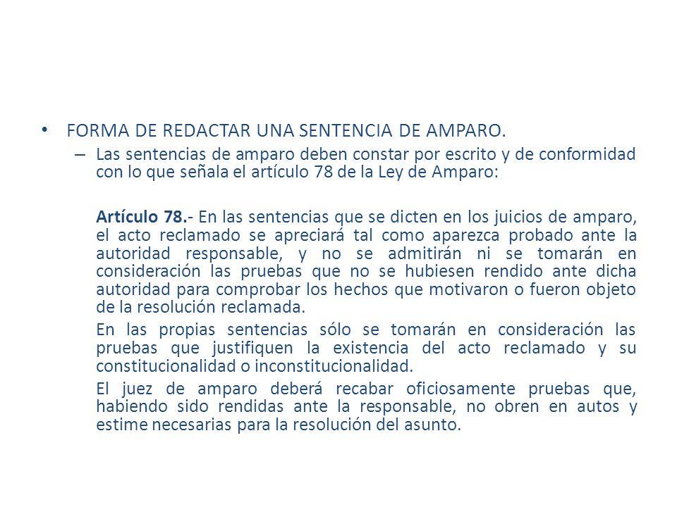 FORMA DE REDACTAR UNA SENTENCIA DE AMPARO.