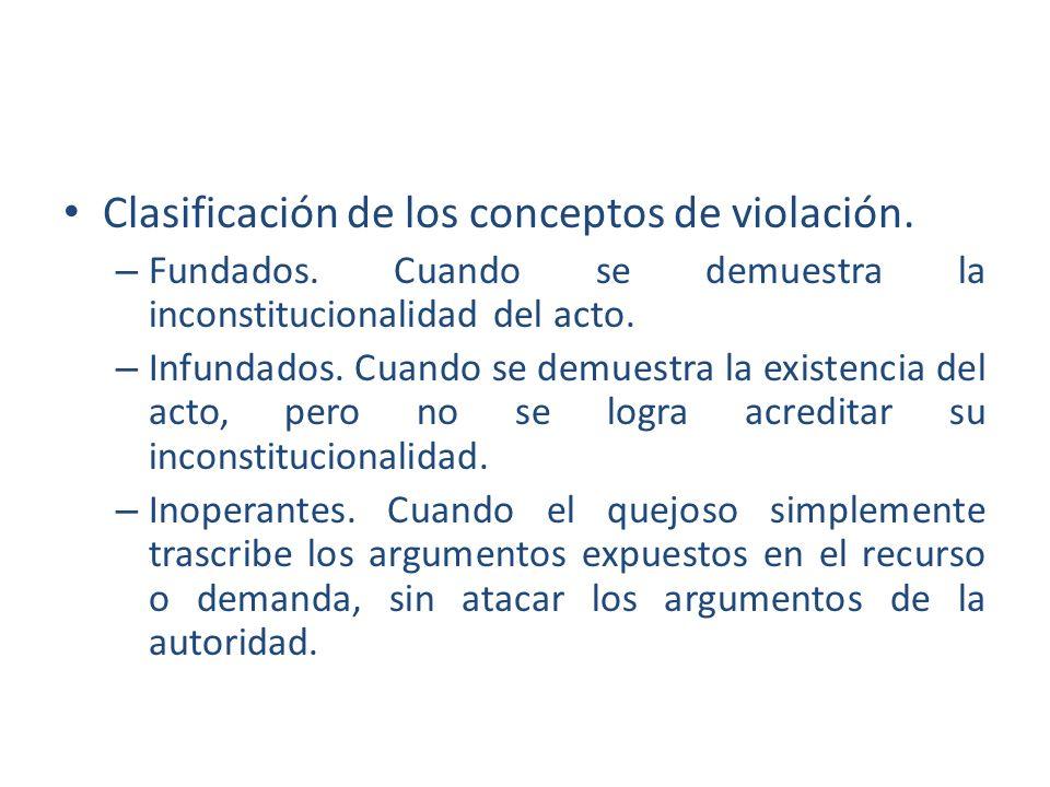 Clasificación de los conceptos de violación.