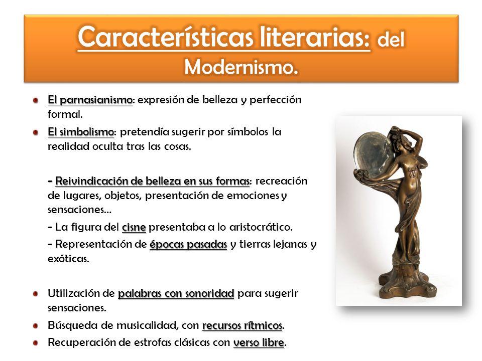 Características literarias: del Modernismo.
