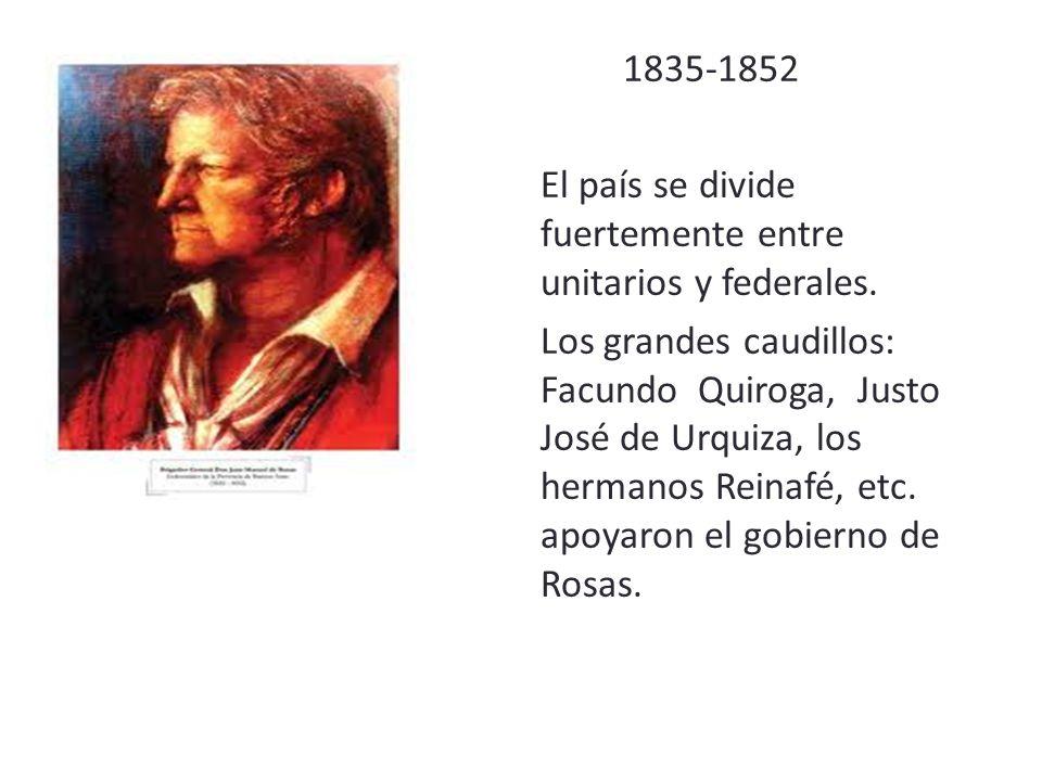 1835-1852 El país se divide fuertemente entre unitarios y federales.