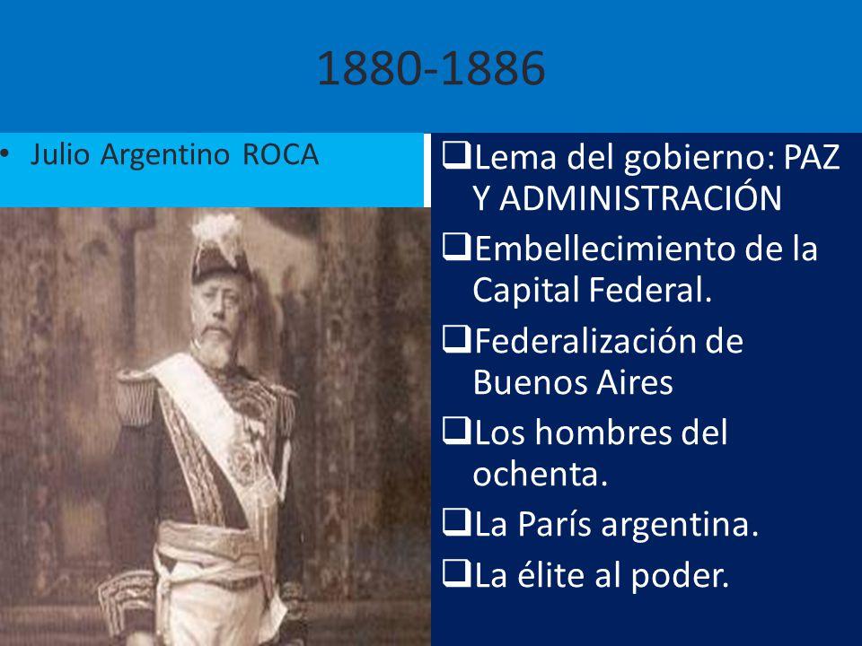 1880-1886 Lema del gobierno: PAZ Y ADMINISTRACIÓN