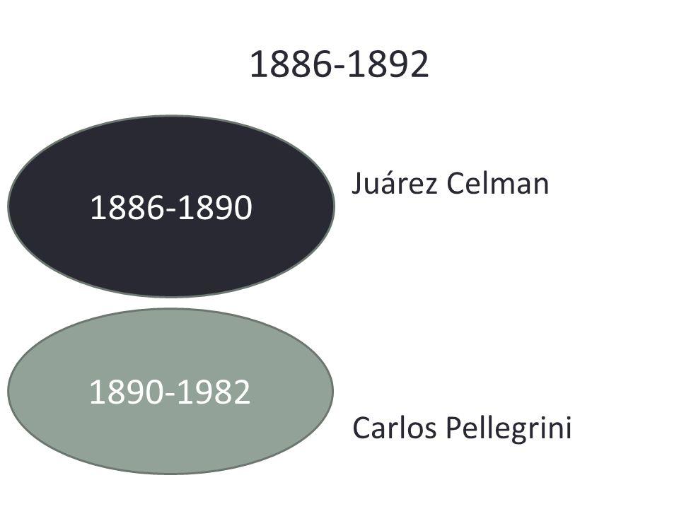 1886-1892 1886-1890 Juárez Celman Carlos Pellegrini 1890-1982