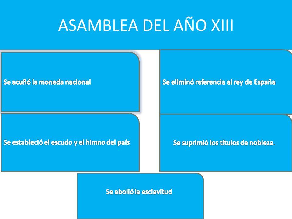ASAMBLEA DEL AÑO XIII Se eliminó referencia al rey de España