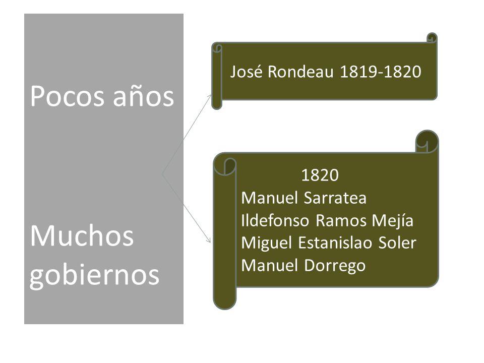 Pocos años Muchos gobiernos José Rondeau 1819-1820 1820