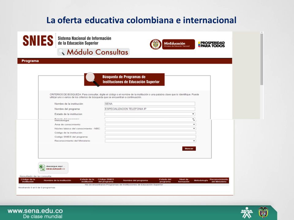 La oferta educativa colombiana e internacional