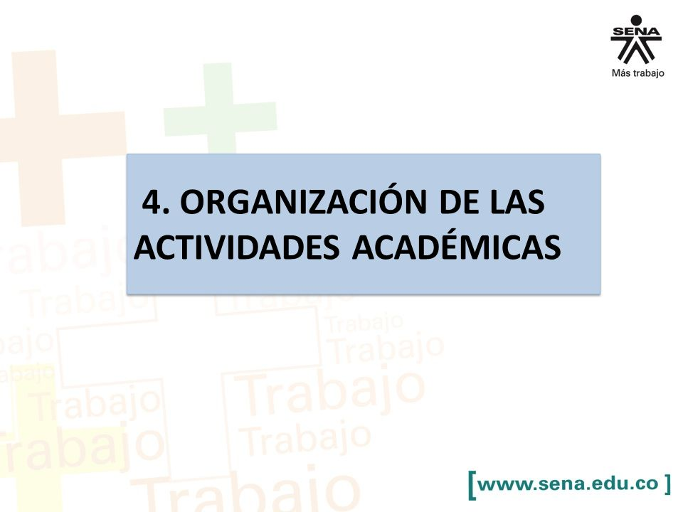 4. ORGANIZACIÓN DE LAS ACTIVIDADES ACADÉMICAS