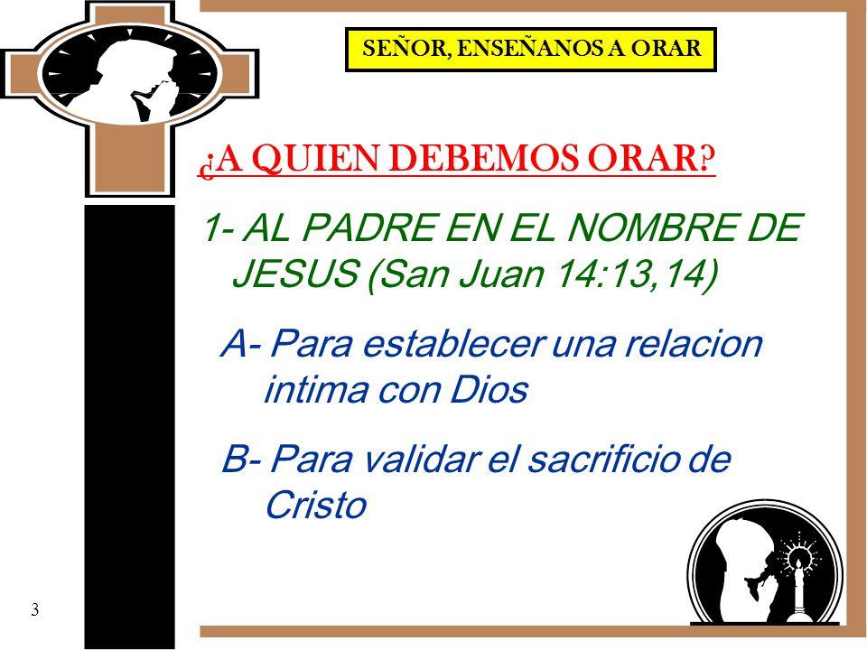 1- AL PADRE EN EL NOMBRE DE JESUS (San Juan 14:13,14)