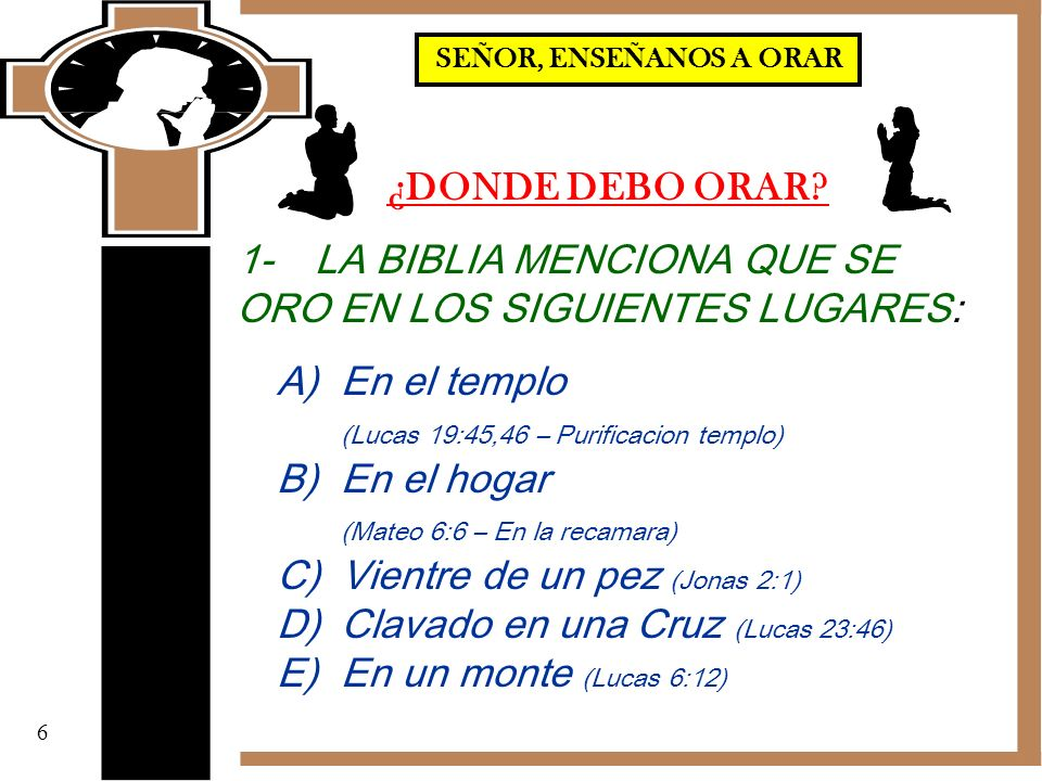 1- LA BIBLIA MENCIONA QUE SE ORO EN LOS SIGUIENTES LUGARES: