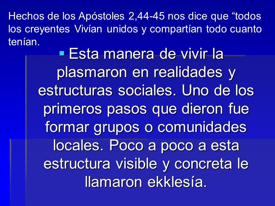 Hechos de los Apóstoles 2,44-45 nos dice que todos los creyentes Vivían unidos y compartían todo cuanto tenían.