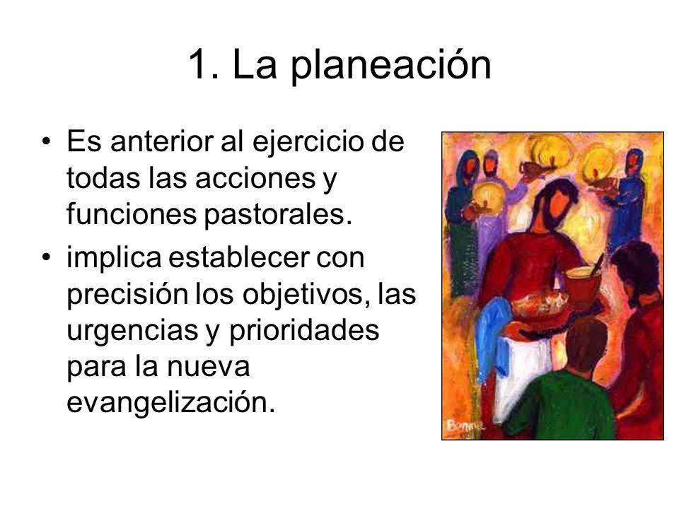 1. La planeaciónEs anterior al ejercicio de todas las acciones y funciones pastorales.