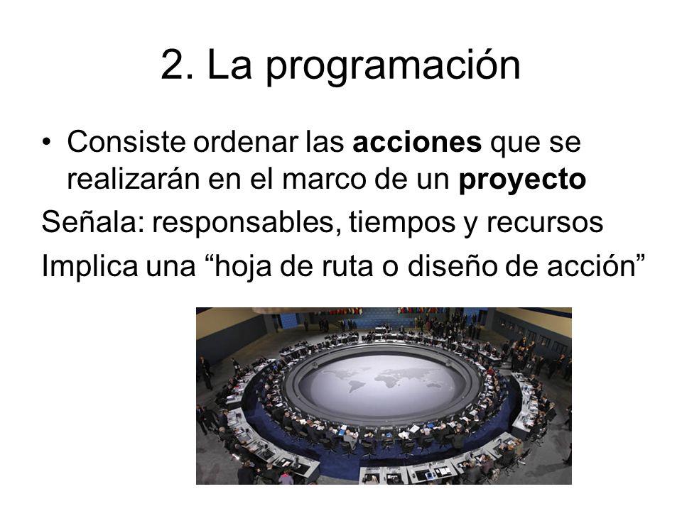 2. La programaciónConsiste ordenar las acciones que se realizarán en el marco de un proyecto. Señala: responsables, tiempos y recursos.