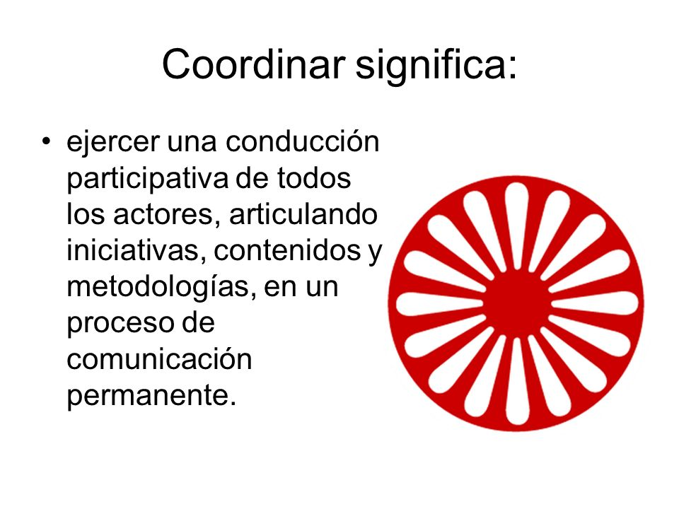Coordinar significa: