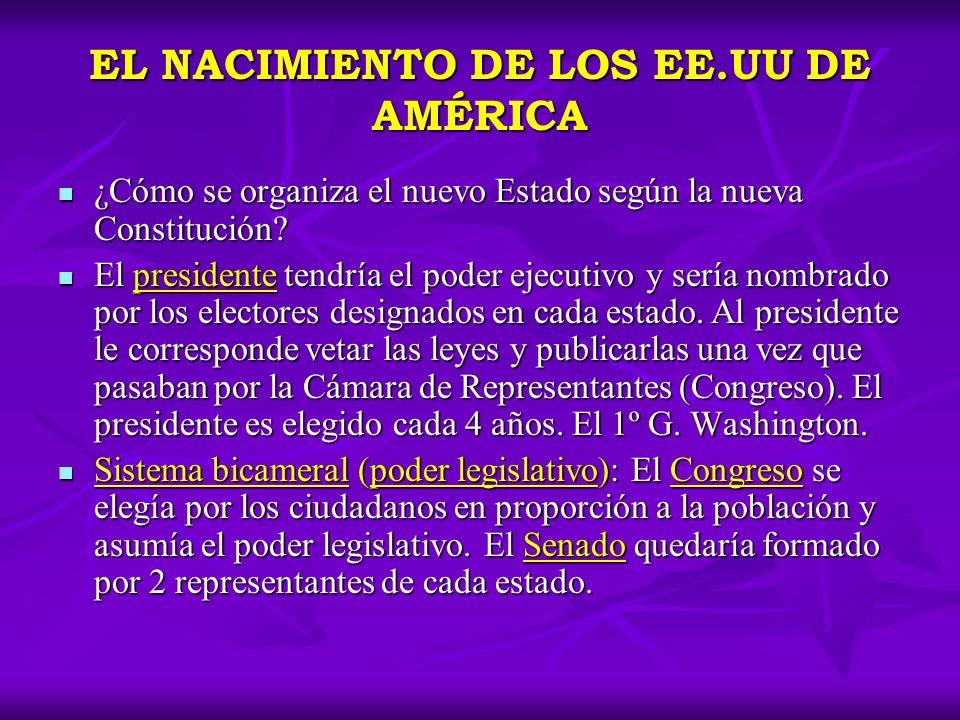 EL NACIMIENTO DE LOS EE.UU DE AMÉRICA