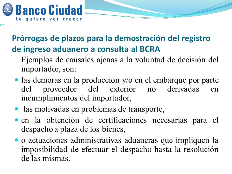 Prórrogas de plazos para la demostración del registro de ingreso aduanero a consulta al BCRA