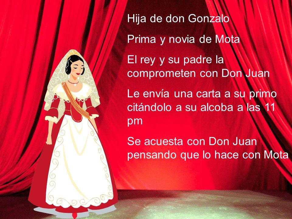 Hija de don Gonzalo Prima y novia de Mota. El rey y su padre la comprometen con Don Juan.