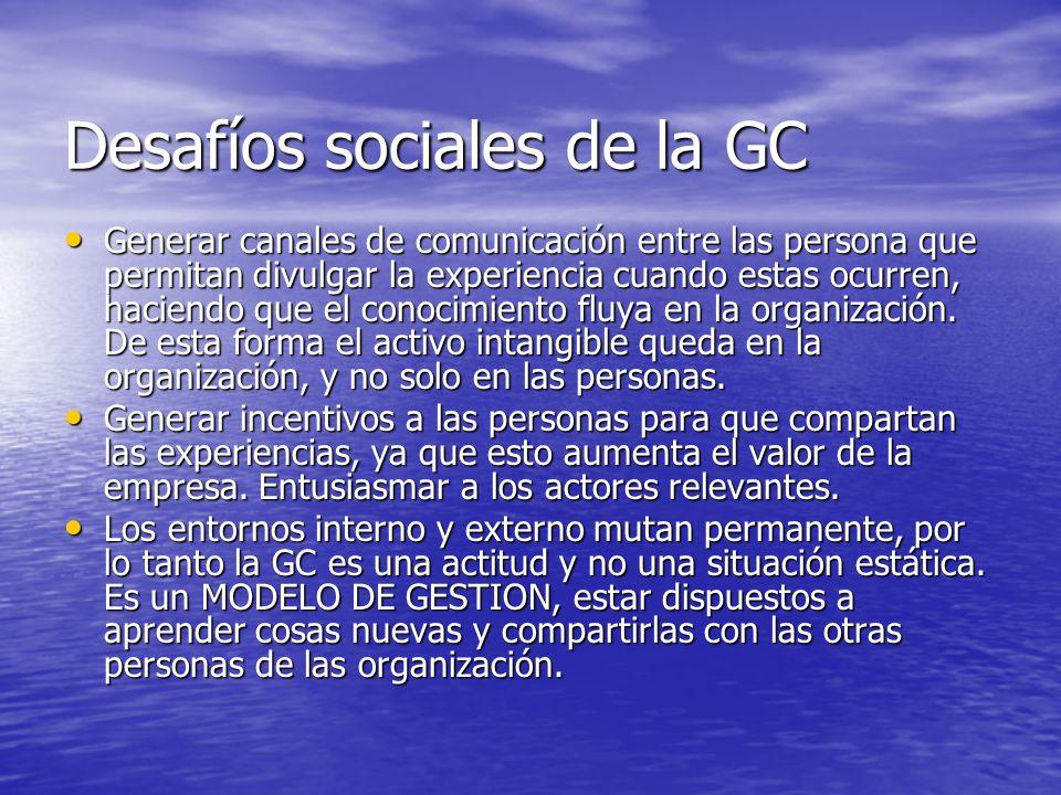 Desafíos sociales de la GC
