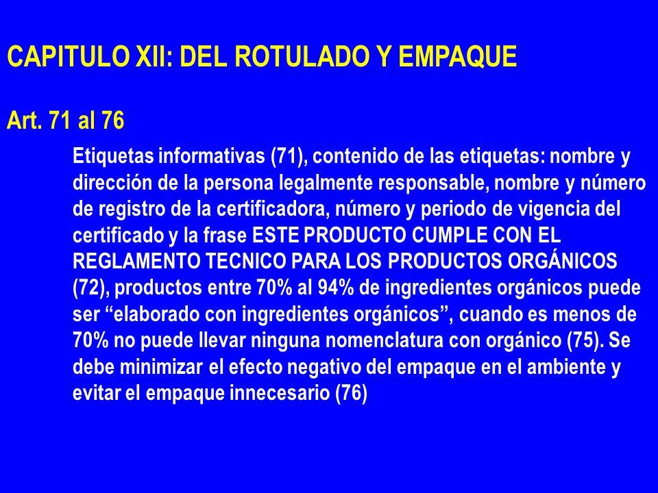 CAPITULO XII: DEL ROTULADO Y EMPAQUE