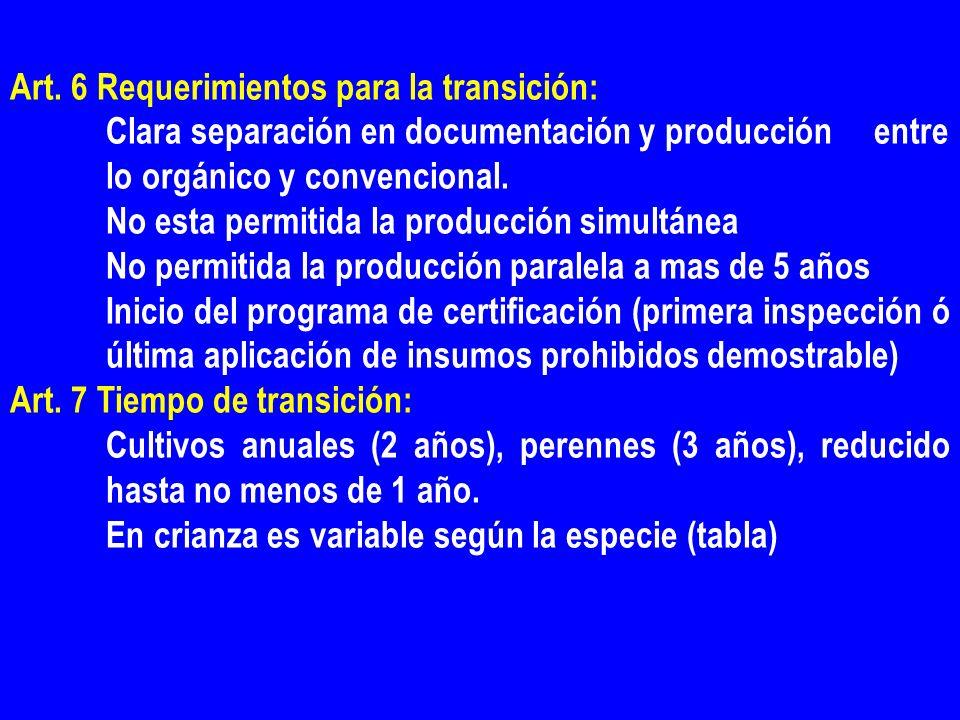 Art. 6 Requerimientos para la transición: