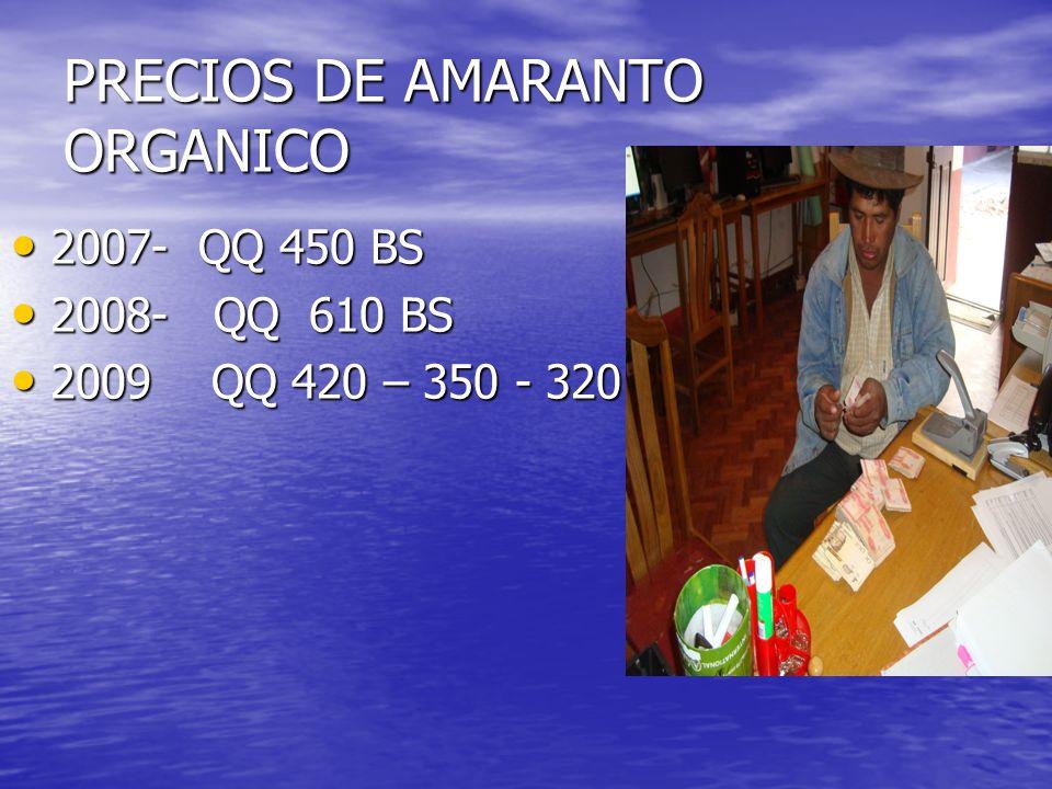 PRECIOS DE AMARANTO ORGANICO
