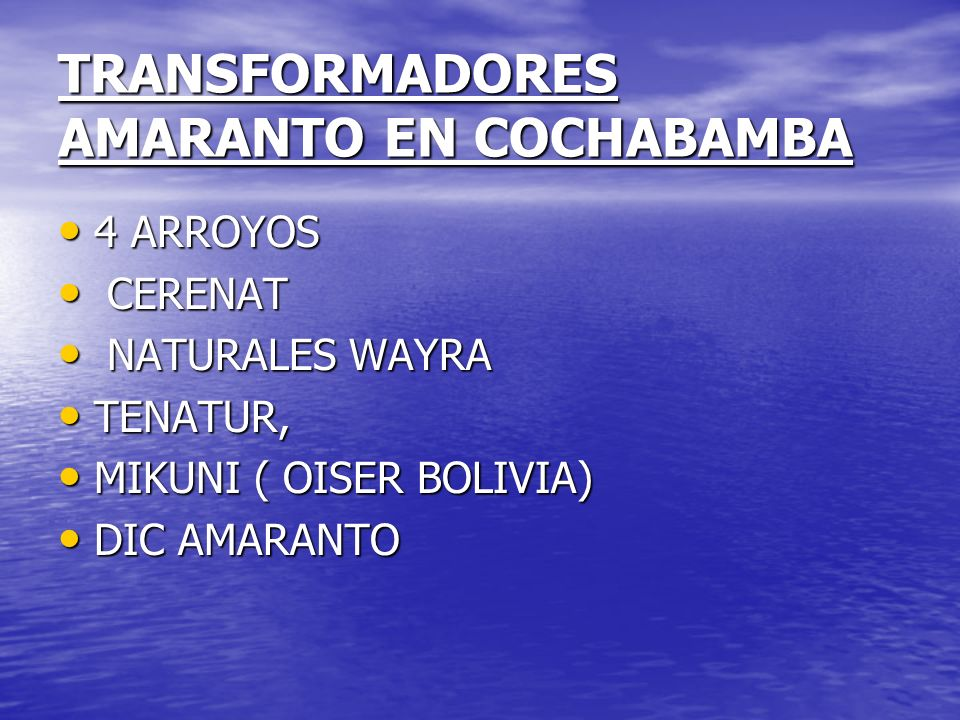TRANSFORMADORES AMARANTO EN COCHABAMBA