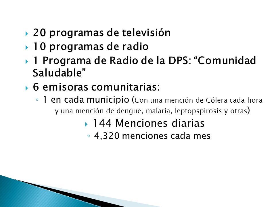 20 programas de televisión 10 programas de radio