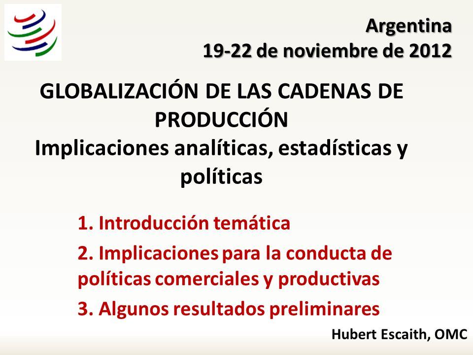 Argentina 19-22 de noviembre de 2012. GLOBALIZACIÓN DE LAS CADENAS DE PRODUCCIÓN Implicaciones analíticas, estadísticas y políticas.