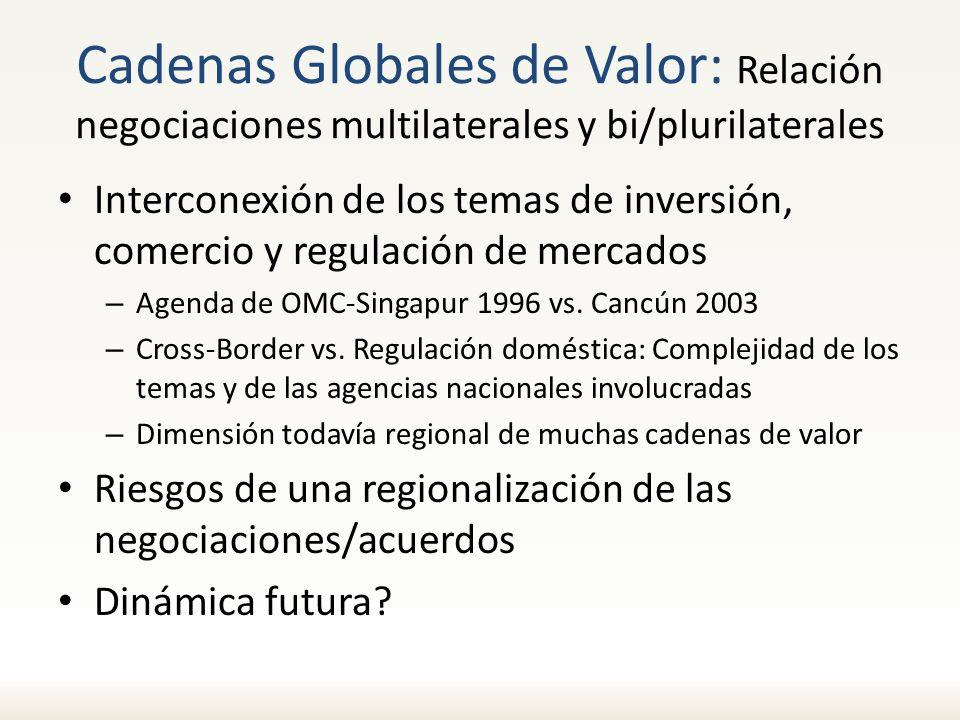 Cadenas Globales de Valor: Relación negociaciones multilaterales y bi/plurilaterales