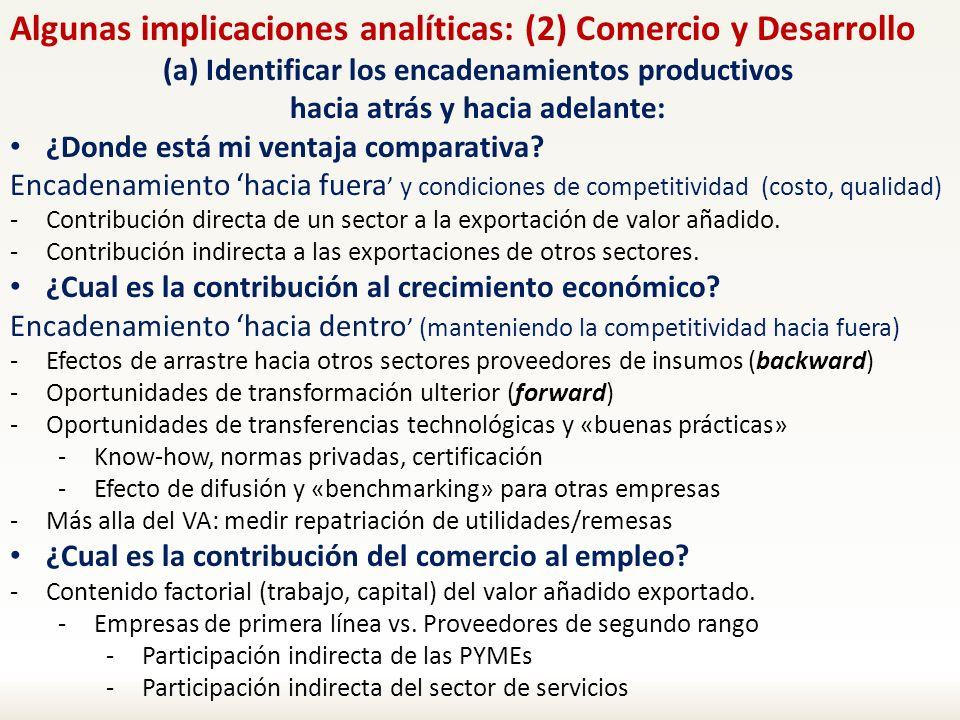 Algunas implicaciones analíticas: (2) Comercio y Desarrollo