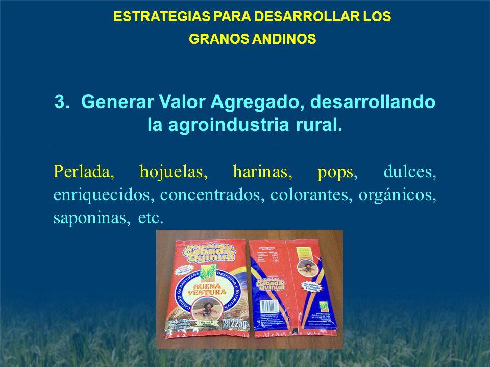 3. Generar Valor Agregado, desarrollando la agroindustria rural.