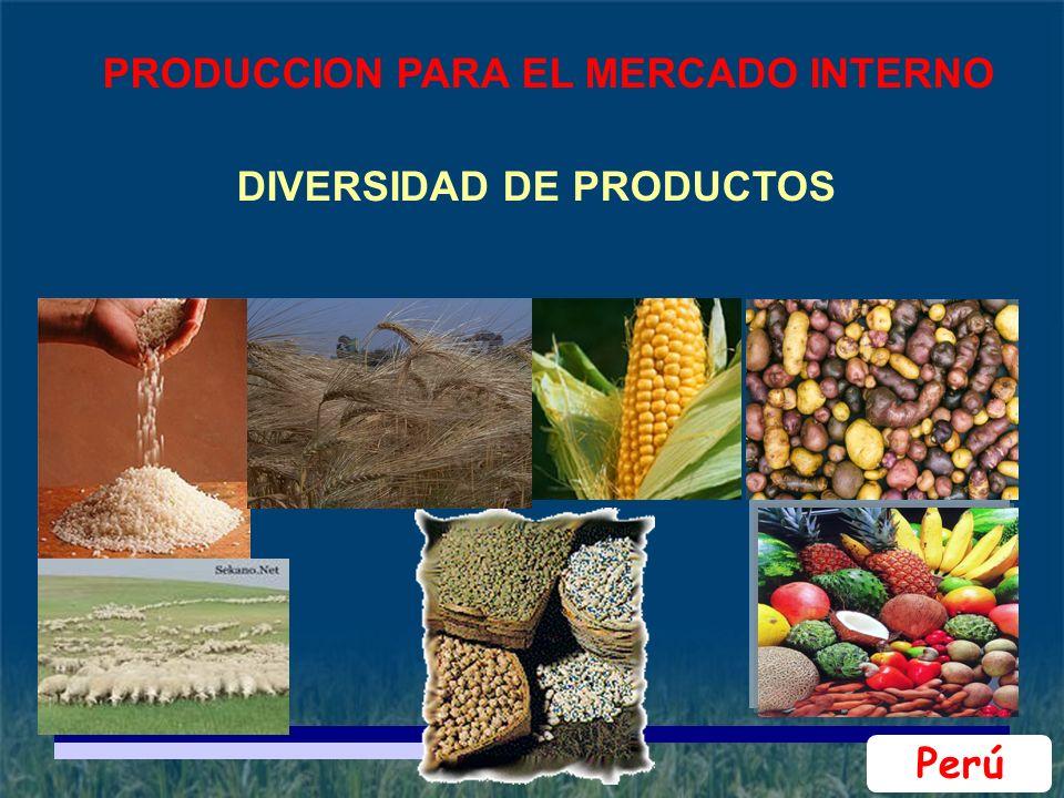 PRODUCCION PARA EL MERCADO INTERNO DIVERSIDAD DE PRODUCTOS