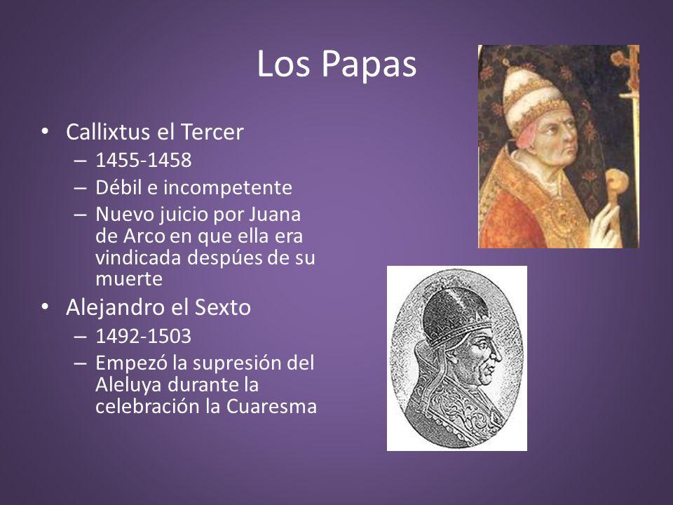 Los Papas Callixtus el Tercer Alejandro el Sexto 1455-1458