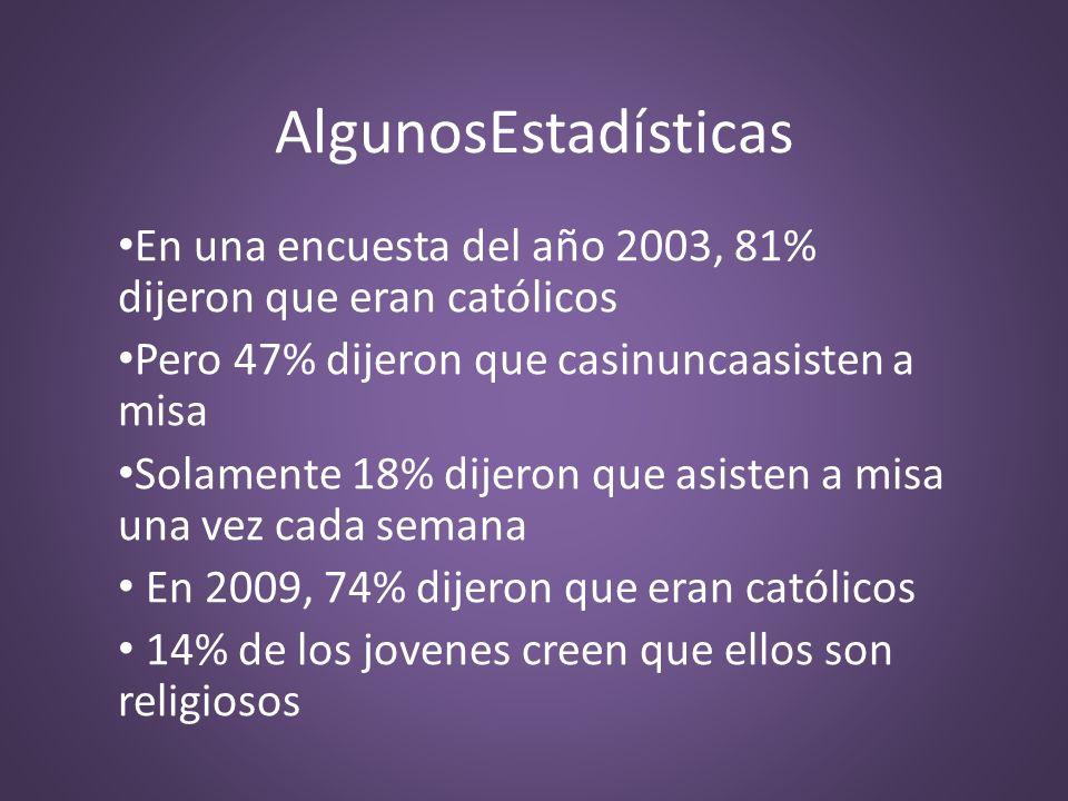 AlgunosEstadísticasEn una encuesta del año 2003, 81% dijeron que eran católicos. Pero 47% dijeron que casinuncaasisten a misa.