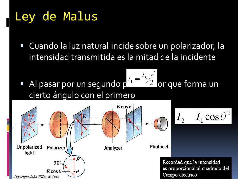 Ley de Malus Cuando la luz natural incide sobre un polarizador, la intensidad transmitida es la mitad de la incidente.