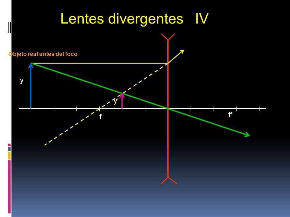 Lentes divergentes IV f' y y' f Objeto real antes del foco