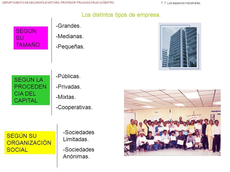 Los distintos tipos de empresa.