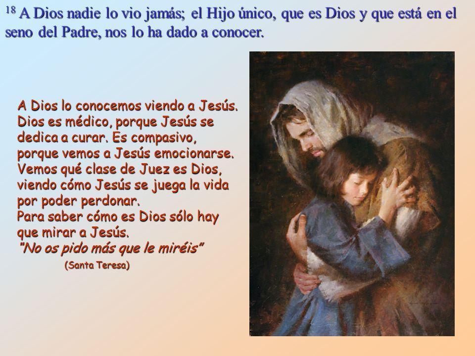 18 A Dios nadie lo vio jamás; el Hijo único, que es Dios y que está en el seno del Padre, nos lo ha dado a conocer.