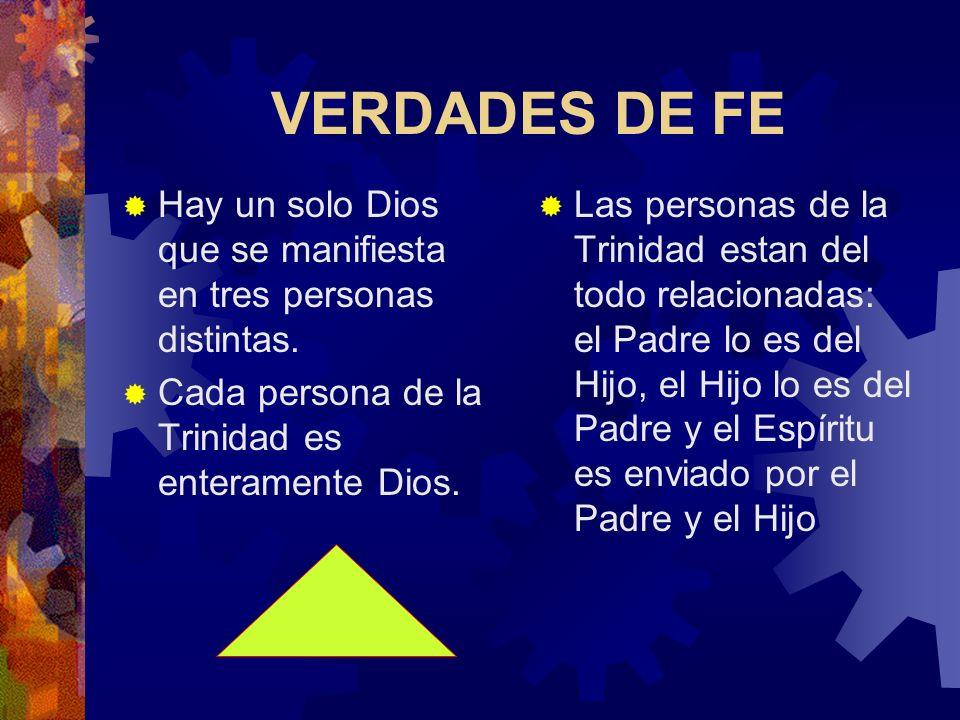 VERDADES DE FE Hay un solo Dios que se manifiesta en tres personas distintas. Cada persona de la Trinidad es enteramente Dios.