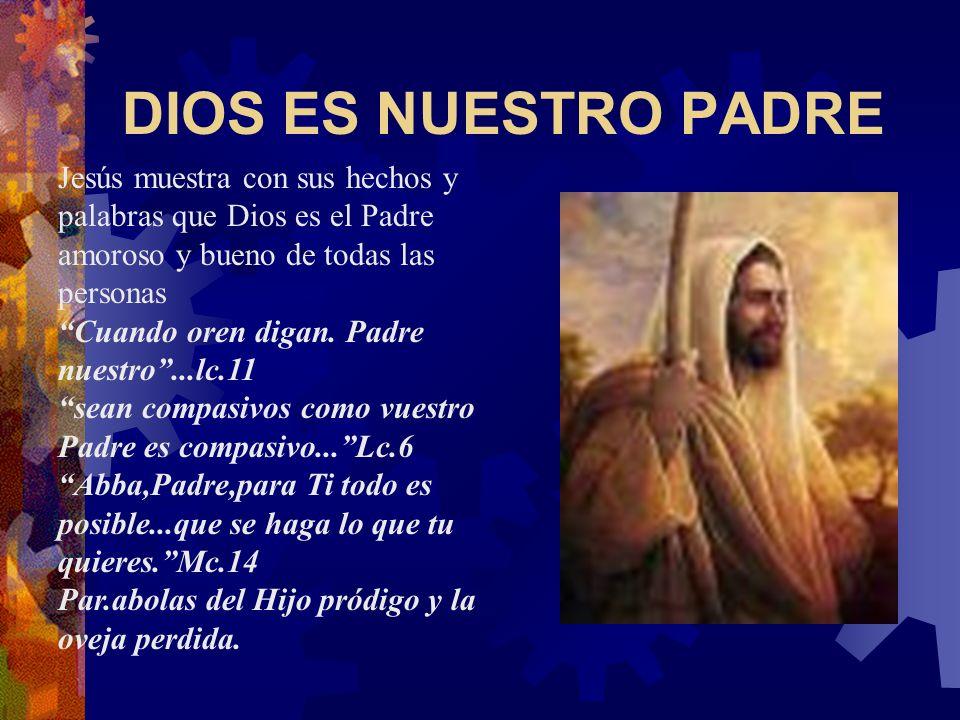 DIOS ES NUESTRO PADRE Jesús muestra con sus hechos y palabras que Dios es el Padre amoroso y bueno de todas las personas.