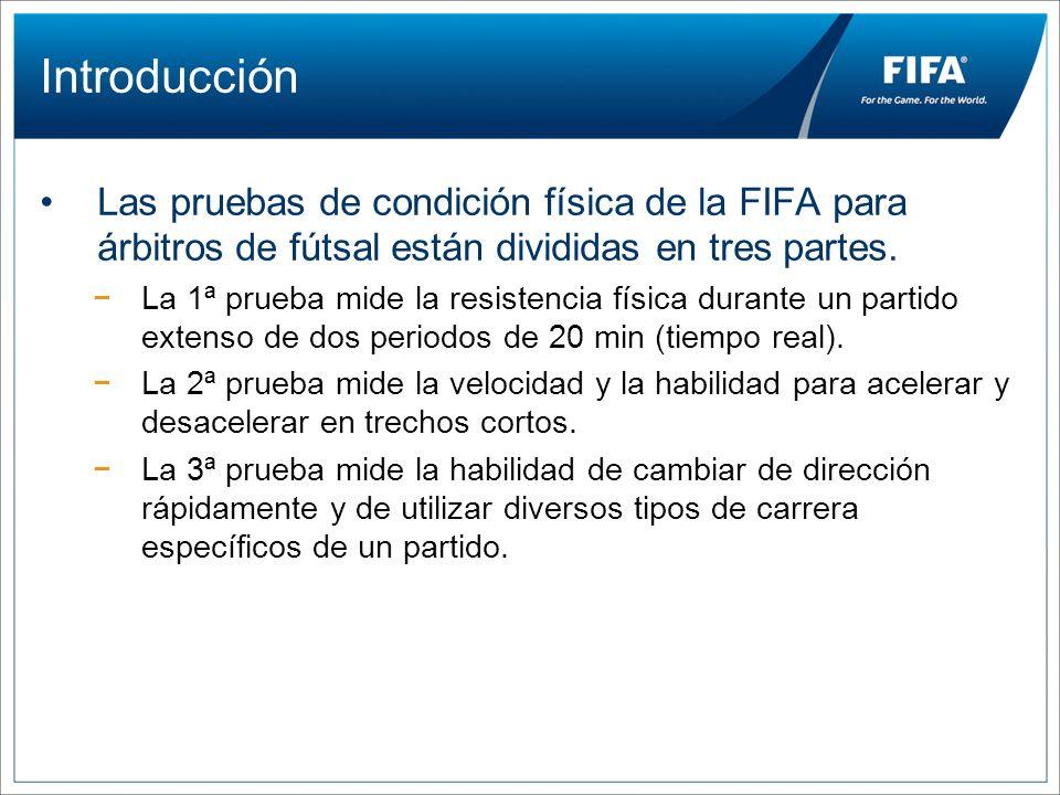 Introducción Las pruebas de condición física de la FIFA para árbitros de fútsal están divididas en tres partes.
