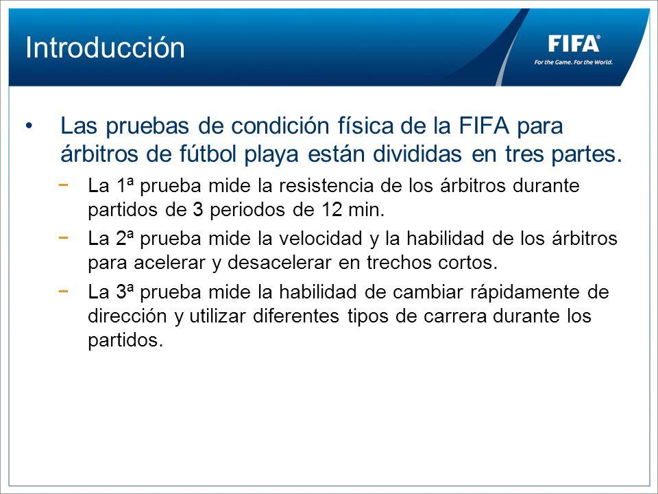 Introducción Las pruebas de condición física de la FIFA para árbitros de fútbol playa están divididas en tres partes.