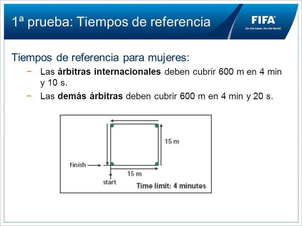 1ª prueba: Tiempos de referencia