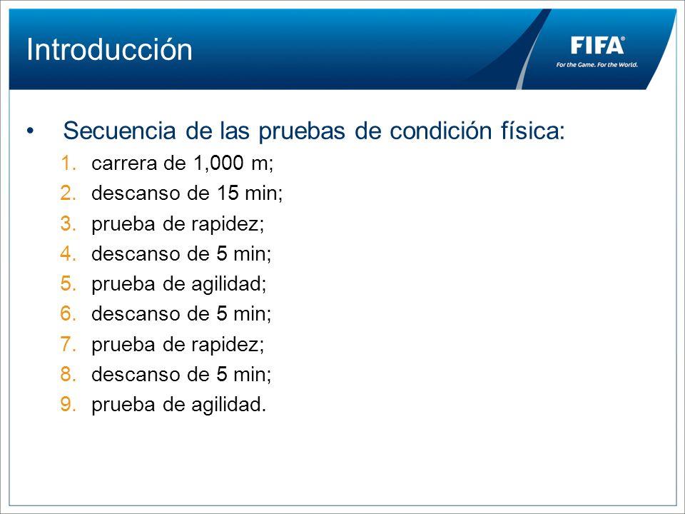 Introducción Secuencia de las pruebas de condición física:
